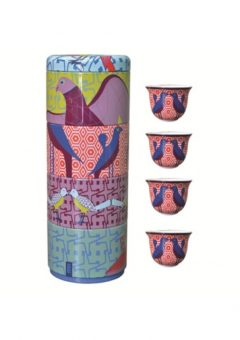 Tin Box With 4 Coffee Cups birds of paradise
