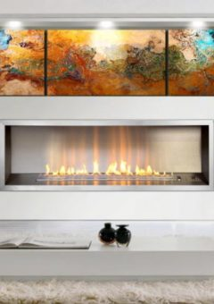 Infinity Slimline 1400 Flue-less gas Fire with optional stanless steel frame