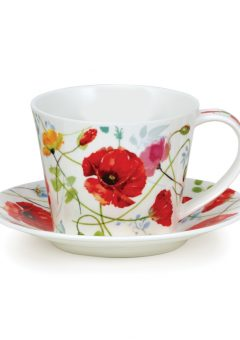 Dunoon Islay cup and saucer Wild Garden poppy