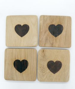 Heart Oak Coasters set 1