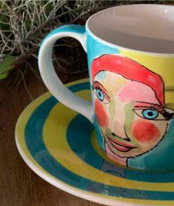 Art d Olivia Teacup and saucer - Artist Lady