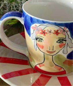 Art d olivia tea cup and saucer live your dreams